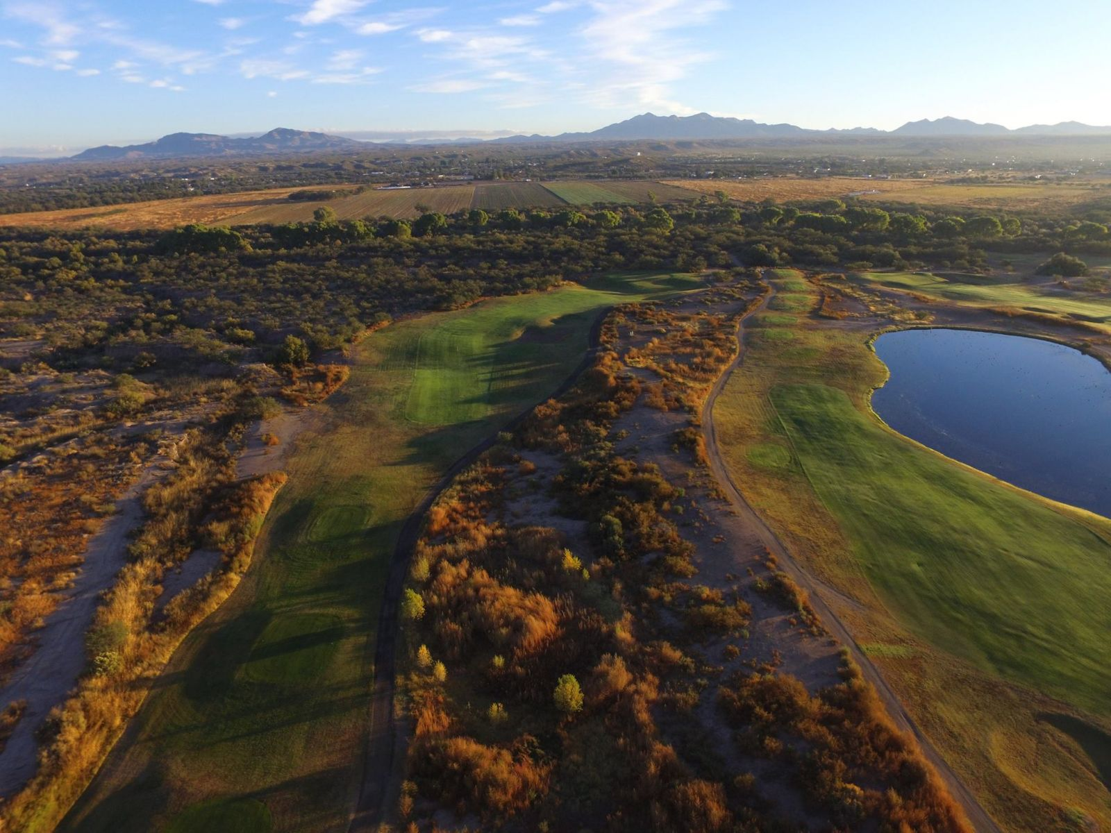Aerial shot of San Pedro Golf Course in Benson, Arizona